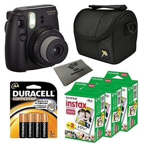 Fujifilm Instax Mini 8 Instant Film Camera 5-in-1 Set (Black) + 3 Extra Fuji Film Instant Film Twin Pack (Total 60 Sheets) + Compact Camera Case + Pack of Aa Batteries + Lens Cleaner Cloth Bundle