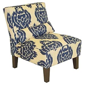 Armless Chair in Diamonds Blue Ikat