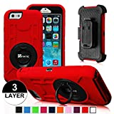 iPhone 6 Plus Case - Fintie Commander Series Three Layer Hard Shell Cover Holster with Built-in Rotating Stand and Belt Swivel Clip for Apple iPhone 6 Plus (5.5), Black/Red