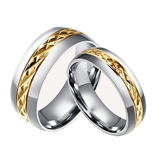 Chryssa Novelty Gold Plated 8MM Men Titanium Stainless Steel Couple Wedding Bands for Him and Her 6MM Women Promise Engagement Rings 7 to 12(SZZ-05) (Men Size 9)
