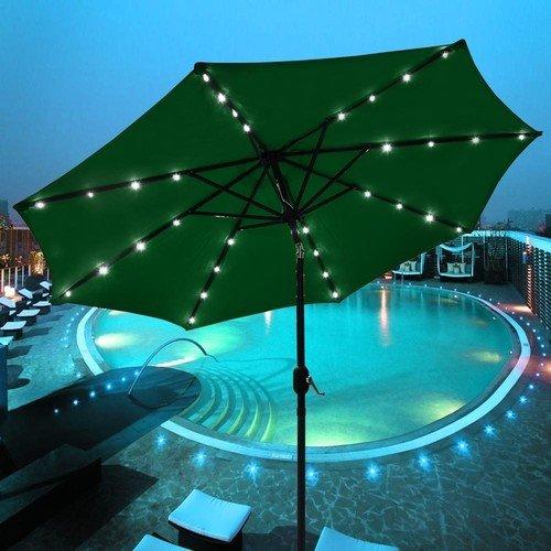 9Ft-Patio Solar Umbrella Led Light Aluminum Shade Deck Gazebo Yard Coach Green