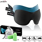 3D Sleep Mask (New Design by PrettyCare with 2 Pack) Eye Mask for Sleeping - Contoured Eyemask Silk - Blindfold Airplane with Ear Plugs,Travel Pouch - Best Night Blinder Eyeshade for Men Women Kids