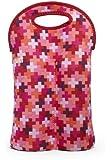 BUILT Original Designer Neoprene Wine/Water Bottle Tote 2-Bottle, Positivity Cherry