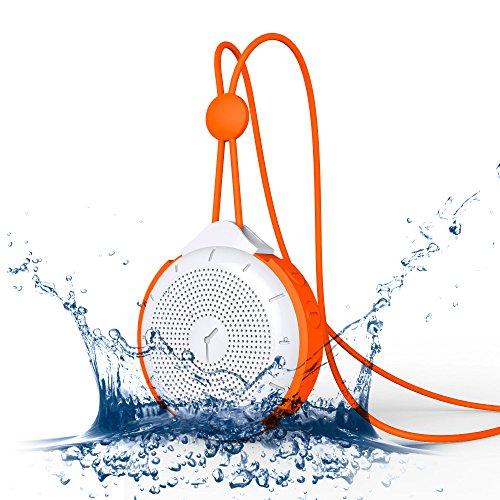 MOCREO®IPX4防水Bluetoothスピーカー ポータブルワイヤレススピーカー、mini Bluetooth speakers、屋内/屋外ウルトラミニ、バッテリー内蔵/ TFカードサポート,ハングアップリングデザイン持ち運び簡単/充電式iPhone 6/6 plus/5s/5C/4s;Samsung galaxy S5/S4/S3,Samsung Note 2;HTC,iPad Air/5;iPad mini Retina;iPod,Google Nexus 7,Nexus 5,MP3 Players他のBluetoothデバイス対応 MOSOUND Tictac  オレンジ