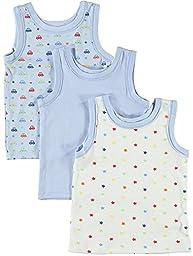 BIG OSHI Baby 3 Pack Sleeveless Undershirt Tank - PLK-804 - Blue, 6-9 Months