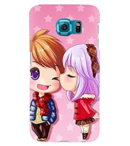 Printvisa Animated Girl And Boy In Love Back Case Cover for Samsung Galaxy S6 Edge::Samsung Galaxy Edge G925