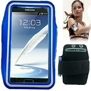 Brassard tour de bras bleu pour Samsung Galaxy Note 2 / II N7100 idéal pour les sportifs, course à pied ou salle de sport, pochette pour clé et trous pour écouteurs.