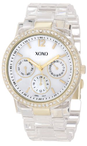 Where to buy xoxo women 39 s xo5527 clear bracelet with rhinestones on gold case watch for Watches xoxo