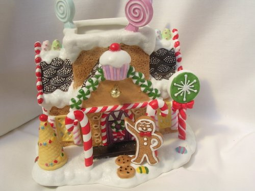 """Gingerbread Village #1 Christmas House Tealight 7"""" Porcelain Collectible"""
