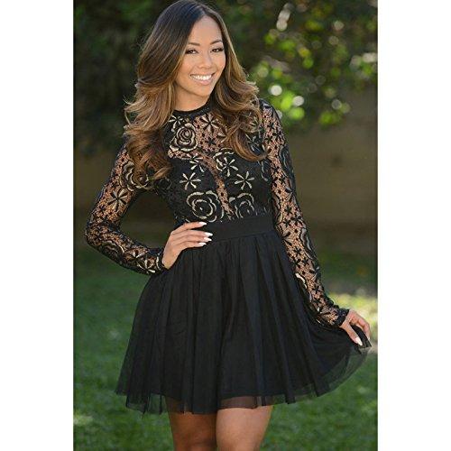 GS~LY Stile occidentale femminile di nuovo una gonna abito manica lunga rotondo collo pizzo cuciture due strati vestito , black ,