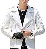 Vergnügen (フェアグニューゲン) メンズ レザー ライダースジャケット ダブル 全4色 S 5XL 流行 バイク ライダース ジャケット コート ハーフコート かっこいい 大人 合わせやすい 黒 ブラック 紺 ネイビー 赤 レッド オレンジ 白 ホワイト (M, ホワイト)