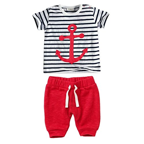 PanDaDa Baby Boys Striped T-shirt Tops Red Pants Outfits Sets Casual 3pcs Summer