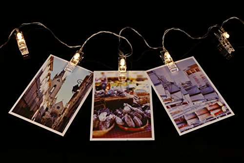 SMAZ LIFE LED Photo Hanging Clips String Lights 15 Feet T2C Battery Operated Warm White, Perfect Room Decoration/Christmas/Party Photo Holder with Clips Gift Box Package