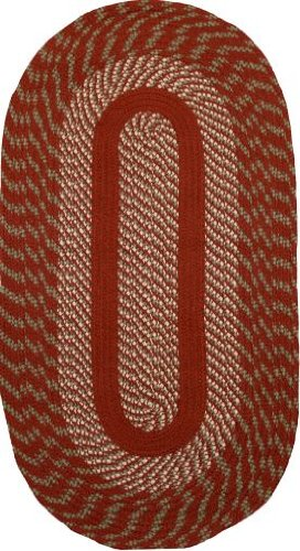 ITM CA-767 Cambridge Barn Red / Olive Braided Rug Size: Oval Runner 2' x 9'