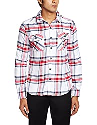Superdry Men's Casual Shirt (5054126922574_M40LE017F1_Large_Westbrook Red Check)