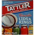 Tattler Reusable Wide Mouth Canning Lids & Rubber Rings - 12/pkg