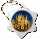 3dRose Danita Delimont - Italy - Vittorio Emanuele statue, Cathedral in Piazza del Duomo, Milan, Italy - 3 inch Snowflake Porcelain Ornament (orn_227443_1)