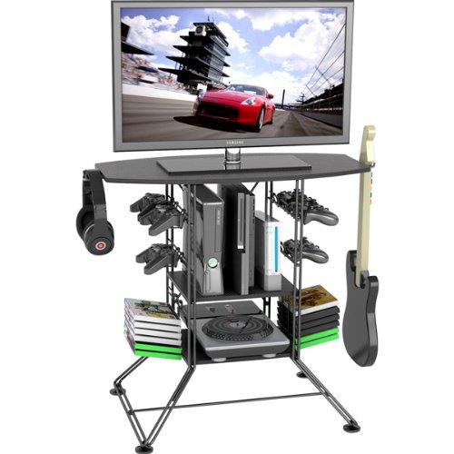 Atlantic - Centipede Game Storage And Tv Stand With Black Metal Wire Top And Black Carbon Fiber Steel