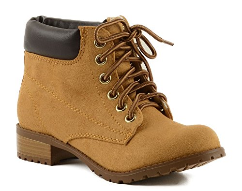 Soda Women's Equity Imitation Suede Lace Up Ankle Combat/Work Boot (7.5, Blond) (Soda Equity Boots compare prices)