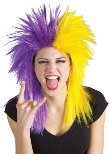 Rubie's Costume Purple and Yellow Sports Fan Wig
