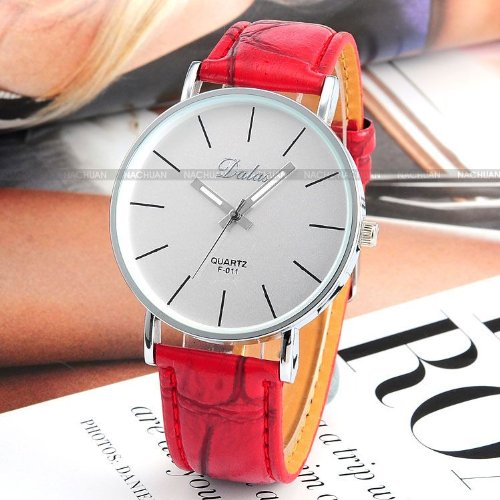 AMPM24 Red Leather Women Lady Girl White Dial Sport Quartz Wrist Watch Gift