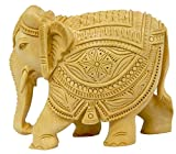 Pure Wooden Material Elephant Carving in Fine Finishing Handicraft art by Bharat Haat BH03712
