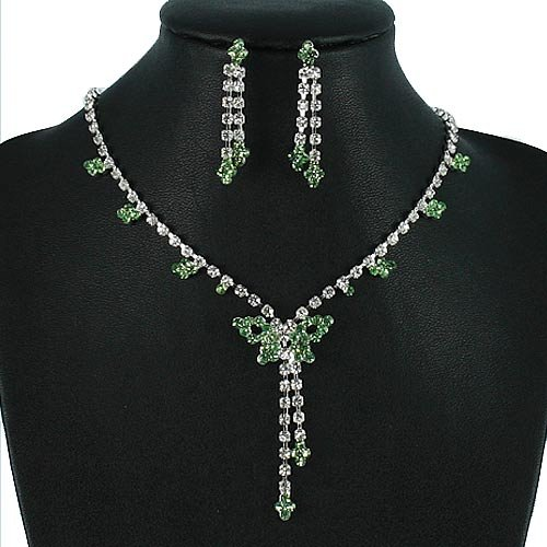 Silver 16 Inch Green Rhinestone Butterfly Y Design Necklace Set