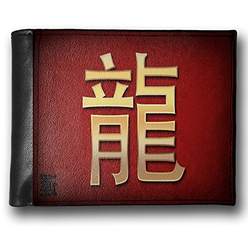 Wallet Dragon Chinese characters, letter red / yellow, RFID Men's Bifold ID Case – Neonblond