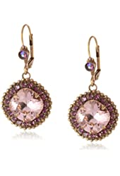 "Sorrelli ""Sundance"" Ornate Cushion Cut Crystal Gold-Tone Drop Earrings"