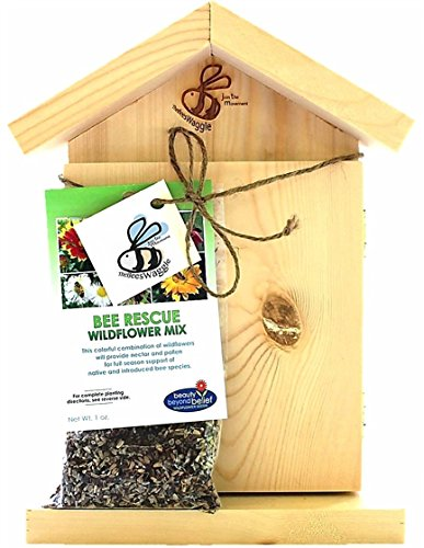 Living Bee Habitat - Watch Them Grow - Bundle Set Includes: Mason Bee House Hive (Observation Window) + Organic Wildflower Seeds + Quick Start eBook - Perfect Christmas Gift for Gardeners, Bee Lovers (Honey Bee House compare prices)