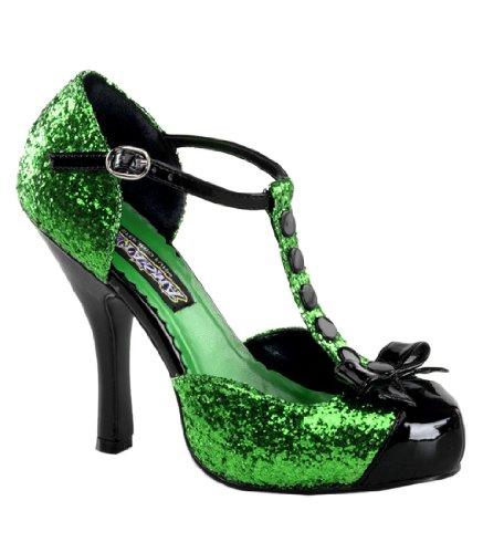 Funtasma by Pleaser Women's Festive T-Strap Pump,Green Glitter/Black Patent,7 M US
