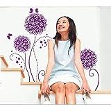 Purple Dandellion Nature Flower Theme Wall Art Sticker For Living Room
