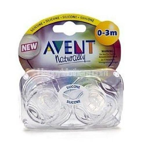 Avent Orthodontic Translucent Silicone Pacifier, Clear, 0-3 months 2 ea