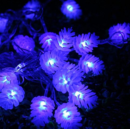 Dazzling Modern Pine Cone 10M LED Nightlight Colorful Party Waterproof Halloween Decor Color Blue 110V with US Plug