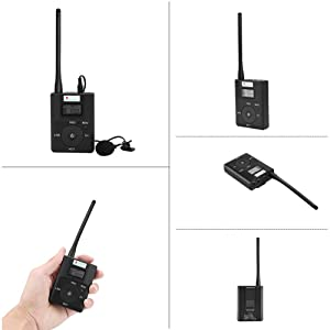 EXMAX 60-108MHz Portable DSP Stereo Wireless Headsets FM Radio Broadcast System for Tour Guide Teaching Meeting Training Travel Field Interpretation - 1 Transmitter and 5 Receivers White