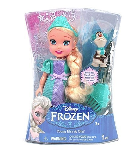 Jakks Pacific, Disney, Frozen, Exclusive Toddler Doll, Young Elsa & Olaf, 6 Inches