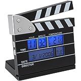 La Chaise Longue Réveil Mini Clap de cinéma Fonctions Date et thermomètre Noir Affichage digital Ecran rétro-éclairé 31-C2-142
