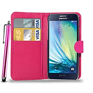 GBOS SAMSUNG GALAXY A8 LEATHER WALLET BOOK FLIP CASE COVER POUCH CARD & CASH SLOT WITH TOUCH STYLUS PEN PINK