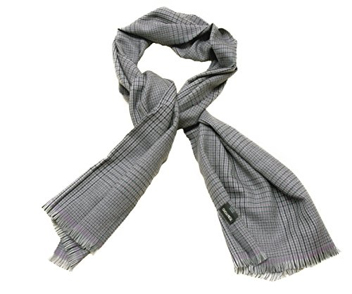 TOM FORD 100% Wool Houndstooth Check Plaid Scarf Grey, Black, and Purple (Ford Scarf compare prices)
