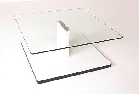 Rolf Benz Couchtisch 8160 100x100cm weiß matt mit Glasabdeckung