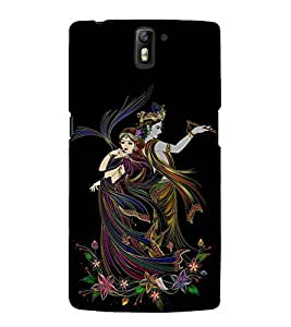 Illustration Radha Krishna Cute Fashion 3D Hard Polycarbonate Designer Back Case Cover for OnePlus One :: One Plus 1 :: 1+1
