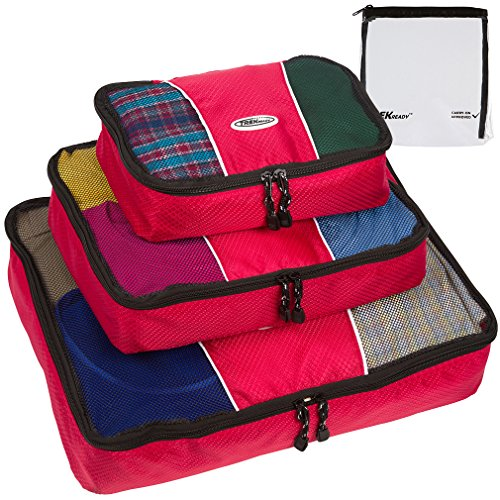 TrekReady Travel Packing Cubes - High Quality Set of 3 - Plus Bonus TSA 3-1-1 Clear Liquids Bag, Red