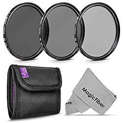 72MM Neutral Density Professional Photography Filter Set (ND2 ND4 ND8) + Premium MagicFiber Microfiber Cleaning Cloth