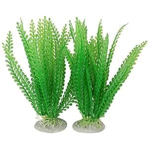 Fish Tank Aquarium Simulated Green Plastic Plants Ornament 84 Pcs