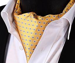 SetSense Men\'s Floral Jacquard Woven Self Cravat Tie Ascot One Size Yellow / Blue