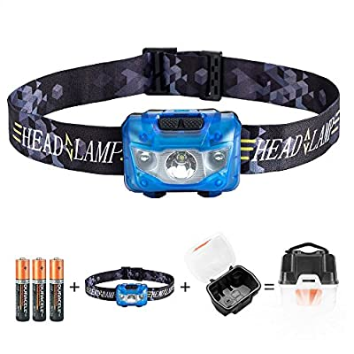 Led Headlamp Flashlight with 5 Modes Red LED Light - Super Bright, Great for Camping, Running, Hiking, Dog Walking, Kids, Reading, Hiking, DIY & More, 3 AAA Batteries and Camping Lantern Case Included