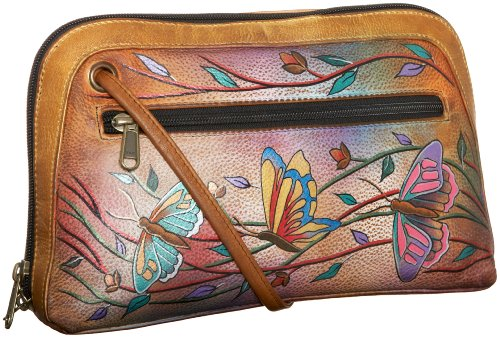 Anuschka 349 Multi-Compartment Zip Bag,Angel Wings,one size