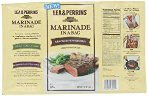 Lea & Perrins Cracked Peppercorn Marinade In-A-Bag, 12 Ounce Package (Pack of 10)