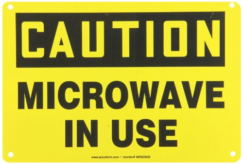 "Accuform Signs Mrad639Vp Plastic Safety Sign, Legend ""Caution Microwave In Use"", 7"" Length X 10"" Width X 0.055"" Thickness, Black On Yellow"
