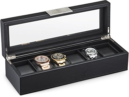 Watch Box for Men - 6 Slot Luxury Carbon Fiber Design Mens Display Case, Large Holder,Metal Buckle -Black (Watch Box Wood compare prices)